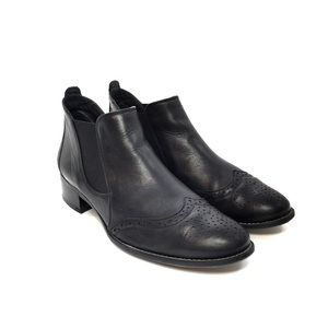Paul Green Shoes - Paul Green Black Leather Wingtip Ankle Boots